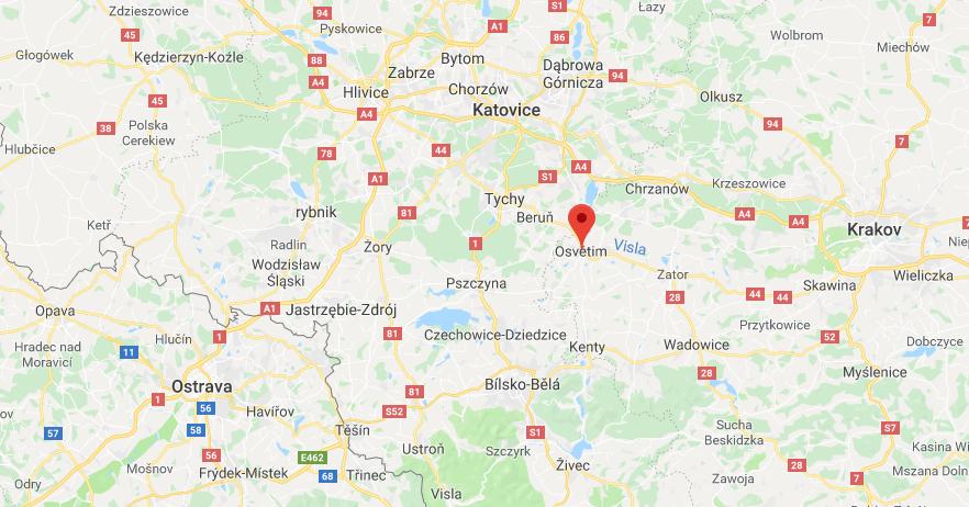 mapa Osvětim