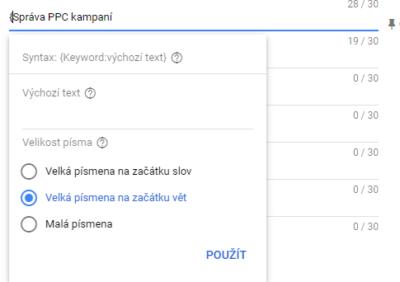 Automatické vkládání klíčových slov do textu inzerátu v Google Ads