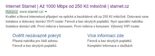 Příklad dobře napsaného inzerátu v Google Ads